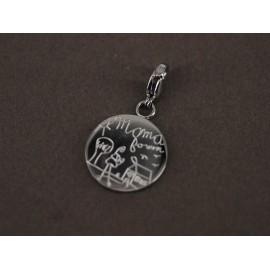 Dije de Acero círculo grabado con mosquetón 27mm