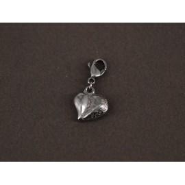 Dije de Acero corazón con mosquetón 13mm