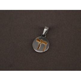 Dije de Acero redondo con hay de oro 15mm