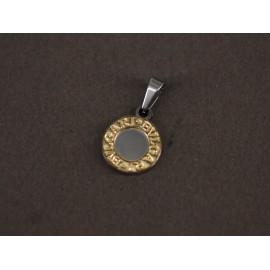 Dije de Acero círculo con oro 14mm