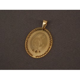 Dije de Acero dorado oval vírgen maria con bordes calados 35mm