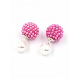 Aros de Plata dior perla 6mm microperla rosa 10mm