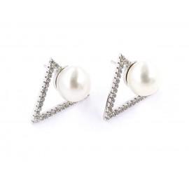 Aros triángulo pave con perla de cultivo