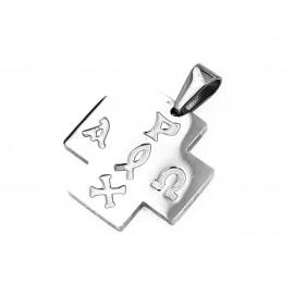 Dije de Acero cruz del equilibrio con símbolos 20mm