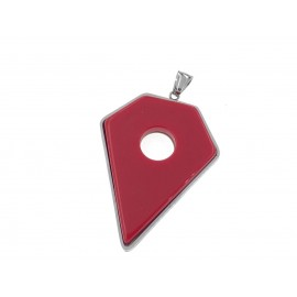 Dije de Acero forma diamante con resina roja 60mm