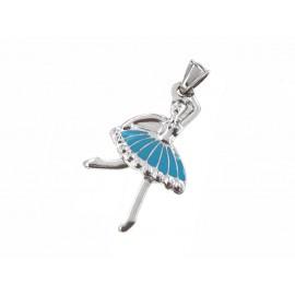 Dije de Acero bailarina esmaltada azul 34mm