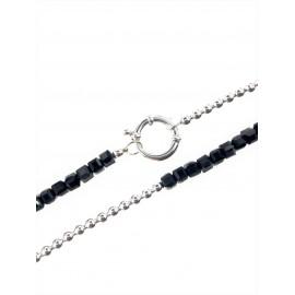 Collar combinado bolitas y cristales negros con marinero 4mm 40m