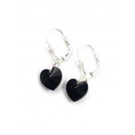Aros con brisura y corazón cristal negro 10mm