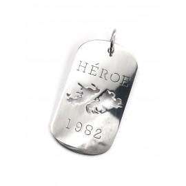 """Dije de Acero """"heroe, 1982"""" 50mm"""