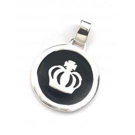 Dije de Plata medallon corona con nacar 35mm