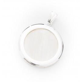 Dije de Acero plateado círculo con centro nácar 32mm
