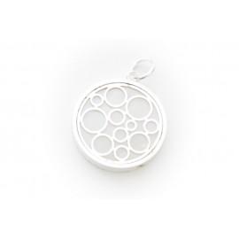 Dije de Acero plateado círculos con fondo nácar 30mm