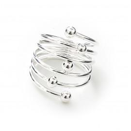 Anillo de Acero plateado espiral con bolitas