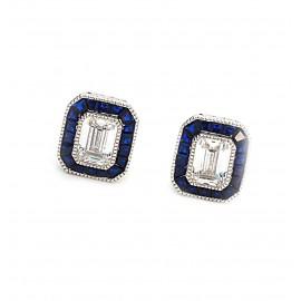 Aros rectángulo con cubic centro blanco y borde azul 12mm