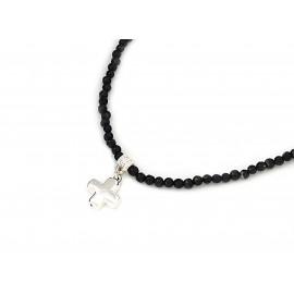 Choker con piedras negras y cruz del equilibrio 4mm 35cm