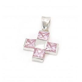 Dije cruz del equiilibrio con cristal rosa 26mm