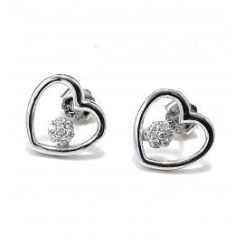 Aros rodinados corazón calado con flor micro pavé 12mm