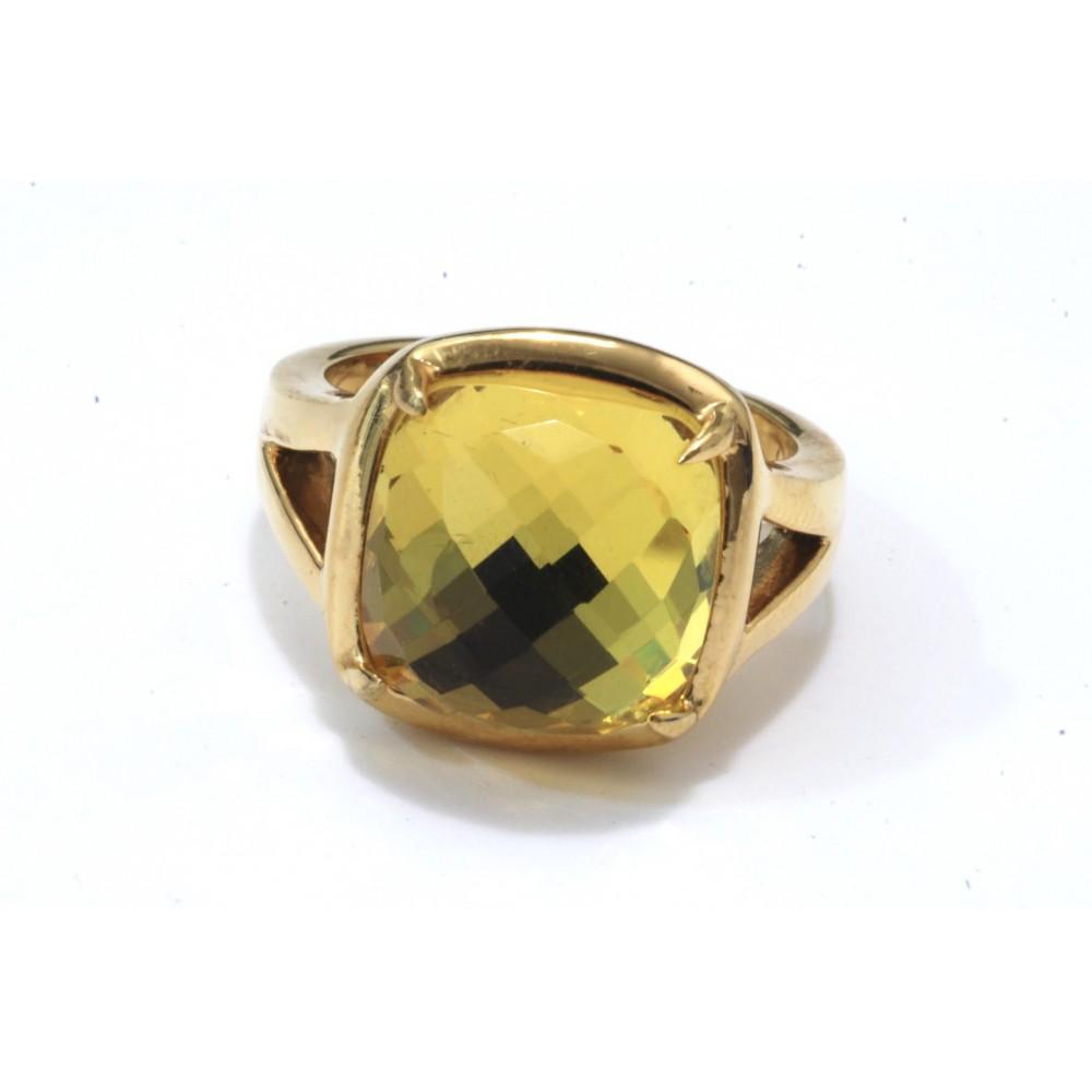 Anillo de Acero dorado con swar verde limón
