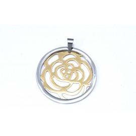Dije de Acero combinado con flor calada 45mm
