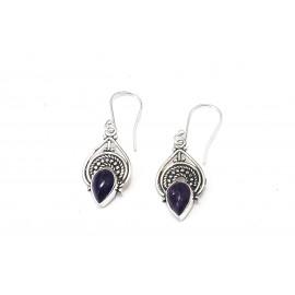 Aros colgantes bidú calados con piedra violeta 26mm