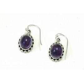 Aros colgantes borde labrado con piedra violeta 16mm