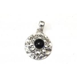 Dije círculo borde labrado con piedra negra 24mm
