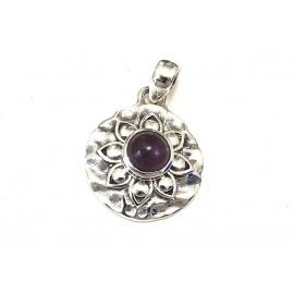 Dije círculo borde labrado con piedra violeta 24mm