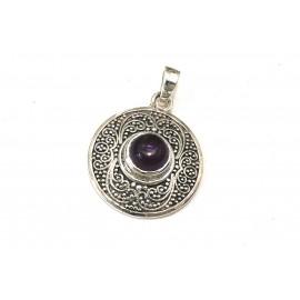Dije círculo con borde labrado y piedra violeta 24mm