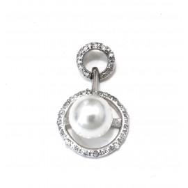 Dije rodinado círculos calados pavé pasantes con perla 26mm