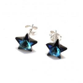 Aros estrella cristal turquesa 10mm