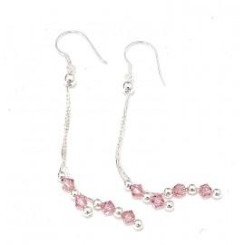 Aros colgantes con cadena y cristal rosa