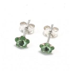 Aros flor cristal verde
