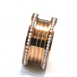 Anillo de acero rosse cinta con microperlas
