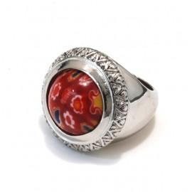 Anillo de acero boton milefiore rojo