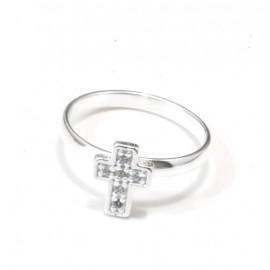 Anillo falange mini cruz con cubic