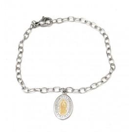 Pulsera de acero Virgen de Guadalupe dorado 19cm