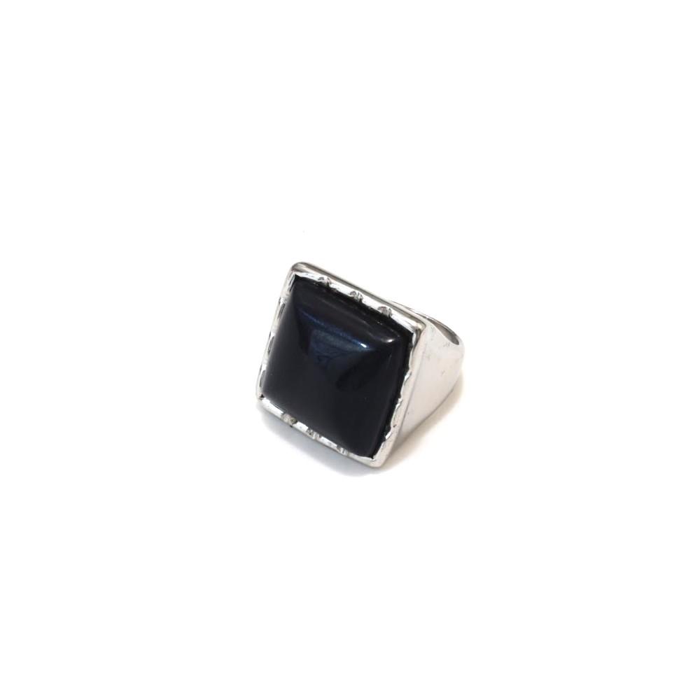 ANILLO sello cuadrado piedra azul