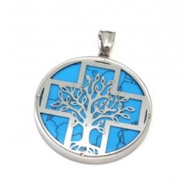 Dije de Acero círculo turquesa con cruz y árbol calado 40mm