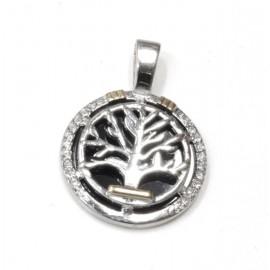 Dije de Acero círculo negro con árbol de la vida y apliques 24mm