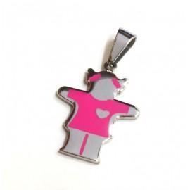 Dije de Acero nena rosa 20mm