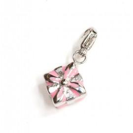 Dije de Acero paquete de regalo esmaltado rosa 10mm