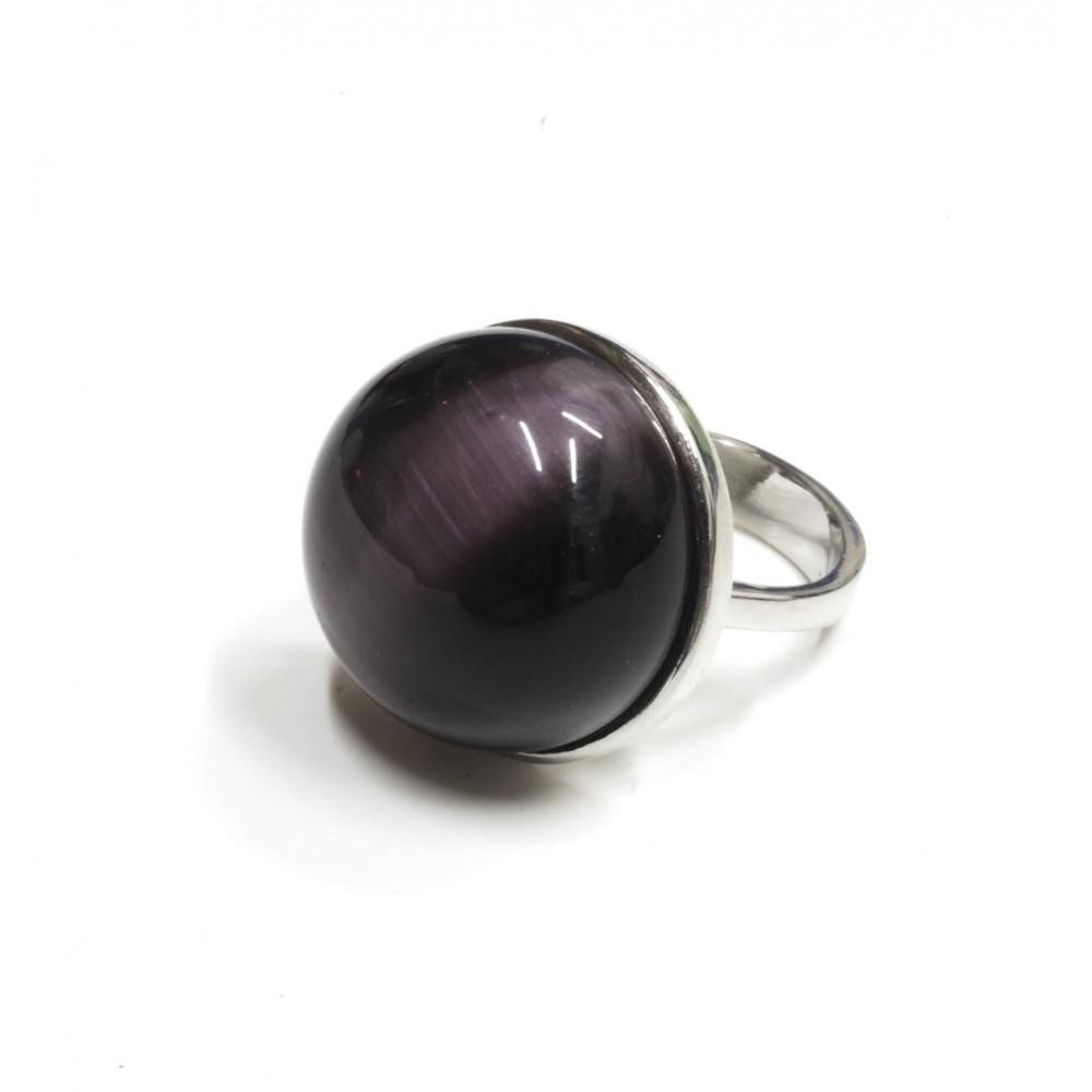 Anillo de acero media bola asterismo violeta