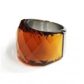 Anillo de Acero cristal facetado caramelo