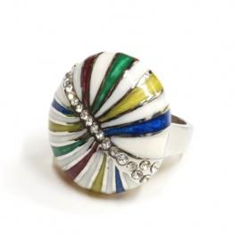 Anillo de Acero esmaltado multicolor con cubic