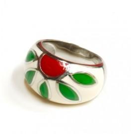 Anillo de acero cabuchon esmaltado blanco, verde y rojo