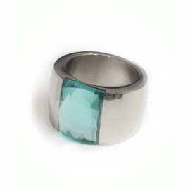 Anillo Acero cristal turquesa rectangular 15mm