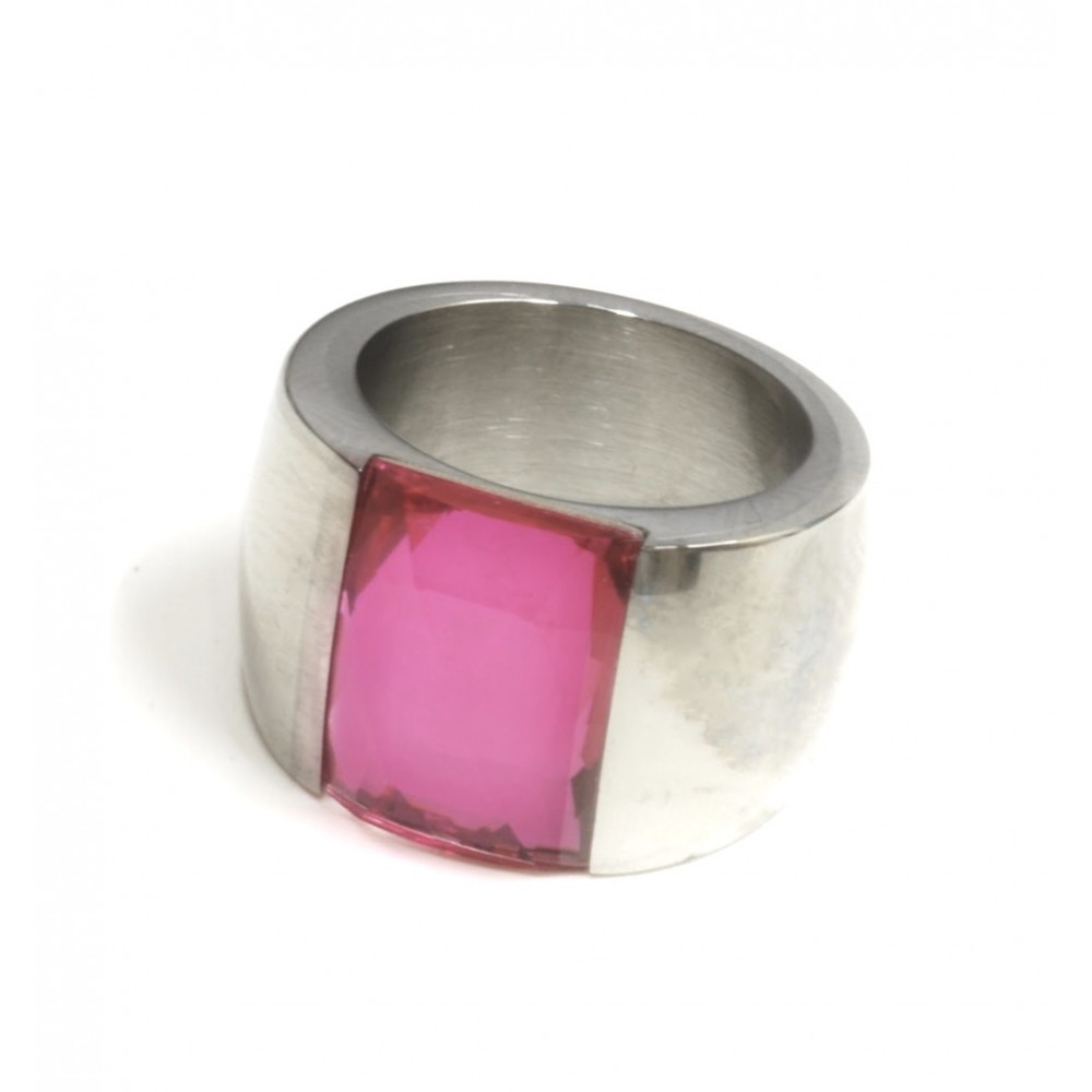 Anillo de Acero cristal rosa rectangular 15 mm