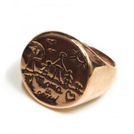 Anillo de Acero rossé sello redondo grabado