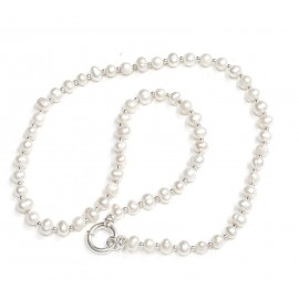 Collar perlas de cultivo con bolitas y marinero 45cm