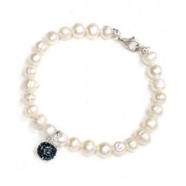 Pulsera de Plata perla de rió con lady di 19cm
